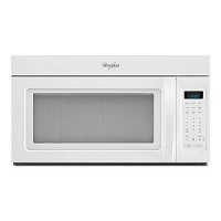 Whirlpool 1.7 cu. ft. over the range microwave oven in white.